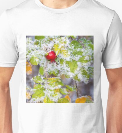 Rose hip and frozen leaves Unisex T-Shirt
