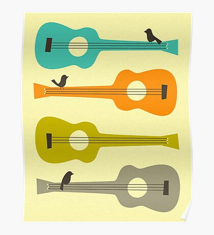 Birds on Guitar Strings Poster