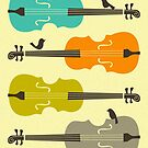 BIRDS ON CELLO STRINGs by JazzberryBlue
