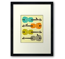 BIRDS ON CELLO STRINGs Framed Print