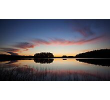 Beautiful clouds and lake landscape after sunset Photographic Print