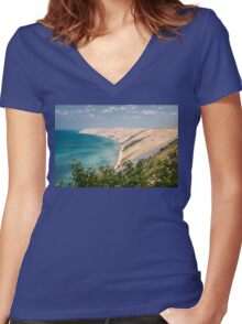 Grand Sable Dune - Lake Superior Women's Fitted V-Neck T-Shirt