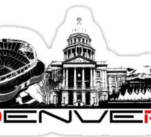 Denver skyline city black Sticker