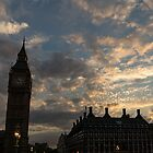 British Symbols and Landmarks - Big Ben 9 PM Sunset in London, England by Georgia Mizuleva