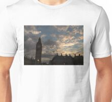 British Symbols and Landmarks - Big Ben 9 PM Sunset in London, England Unisex T-Shirt