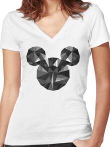 Black Pop Crystal Women's Fitted V-Neck T-Shirt