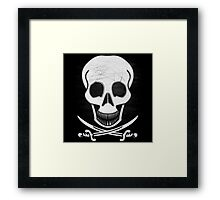 leather stitched pirate skull  Framed Print