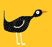 Weird bird yellow by Verene Krydsby