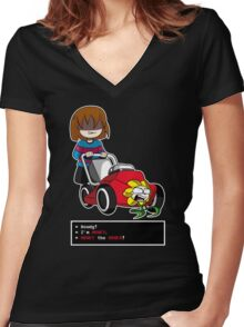 Undertale Frisk and Flowey Women's Fitted V-Neck T-Shirt