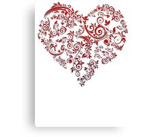 vintage red heart heart and flowers Canvas Print