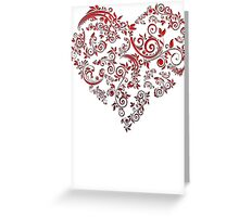 vintage red heart heart and flowers Greeting Card