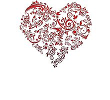 vintage red heart heart and flowers Photographic Print