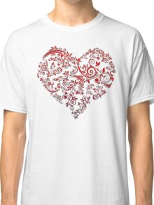 vintage red heart heart and flowers Classic T-Shirt