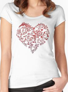 vintage red heart heart and flowers Women's Fitted Scoop T-Shirt