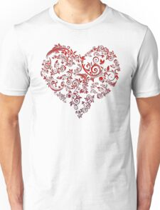 vintage red heart heart and flowers Unisex T-Shirt