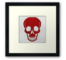 leather stitched skull red Framed Print