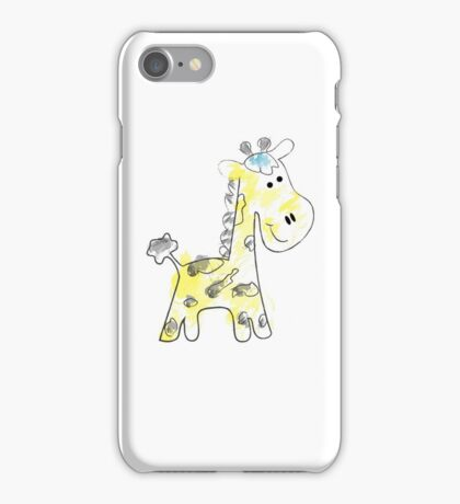 colorful sketch of giraffe on white background iPhone Case/Skin