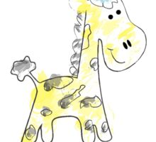 colorful sketch of giraffe on white background Sticker