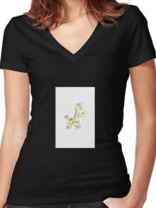 colorful sketch of giraffe on white background Women's Fitted V-Neck T-Shirt
