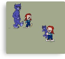 calvin and hobbes meets hanks and raven Canvas Print