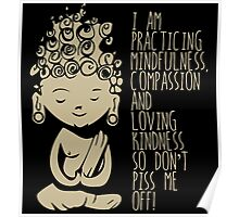 I am Practicing Mindfulness, Compassion and loving kindness so don't piss me off! Poster