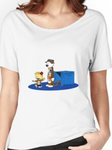 calvin and hobbes meets tardis box Women's Relaxed Fit T-Shirt