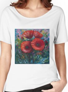 Red Poppies (Palette Knife Painting) by Lena Owens/OLena Art Women's Relaxed Fit T-Shirt