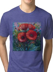 Red Poppies (Palette Knife Painting) by Lena Owens/OLena Art Tri-blend T-Shirt