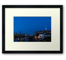 British Symbols and Landmarks - Shakespeare Globe Theatre Blue Hour in London, England Framed Print