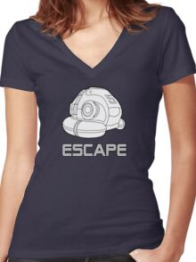 Sci-fi Escape Pod Design with Wording Women's Fitted V-Neck T-Shirt