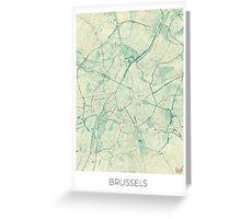 Brussels Map Blue Vintage Greeting Card