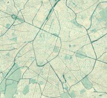 Brussels Map Blue Vintage Sticker