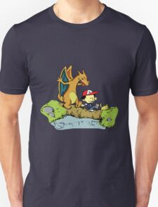 Calvin and Hobbes as Ash and Charizard T-Shirt