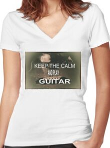KEEP THE CALM Women's Fitted V-Neck T-Shirt