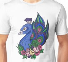 Peacock with flowers Unisex T-Shirt