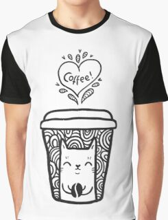 doodle coffee cat Graphic T-Shirt