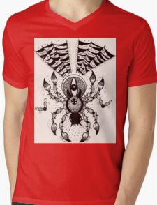 Black Spider Mens V-Neck T-Shirt