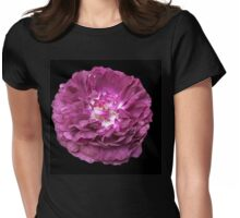 Purple rose on Ebony Womens Fitted T-Shirt