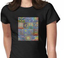 Acrylic Yoga Paintings by Karmym Womens Fitted T-Shirt