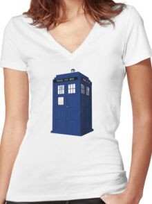 """Tardis"" Women's Fitted V-Neck T-Shirt"