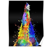 Rainbow Spaceship Dark Background Poster