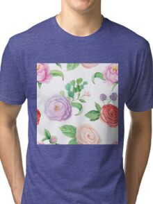 Handpainted watercolor roses and leaves inspired by garden Tri-blend T-Shirt