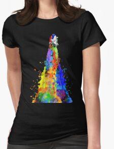 Rainbow Spaceship Dark Background Womens Fitted T-Shirt