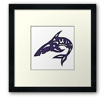 Cool Tribal Shark with Surf Letters  Framed Print