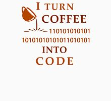 I turn coffe into code Womens Fitted T-Shirt