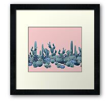 Serenity Cacti on Rose Quartz Background Framed Print