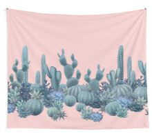 Serenity Cacti on Rose Quartz Background Wall Tapestry