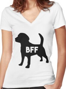 Pet BFF - Dog Best Friend Forever (black silhouette, color background) Women's Fitted V-Neck T-Shirt
