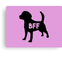 Pet BFF - Dog Best Friend Forever (black silhouette, color background) Canvas Print