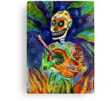 Mariachi Gutar Player Day of the Dead Skeleton Canvas Print